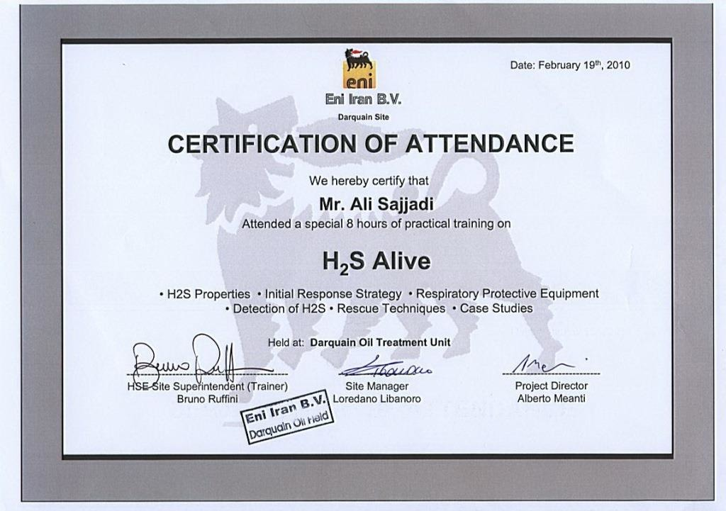 h2s alive certificate