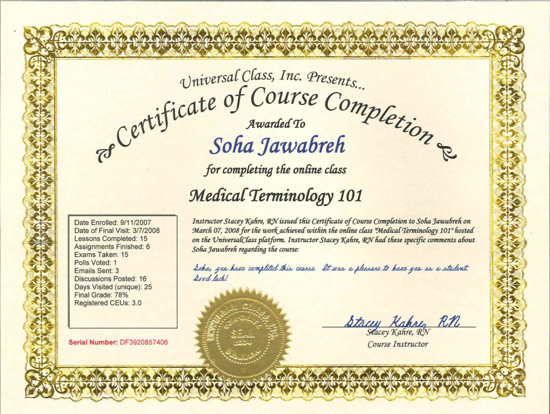 certificate medical terminology soha issued
