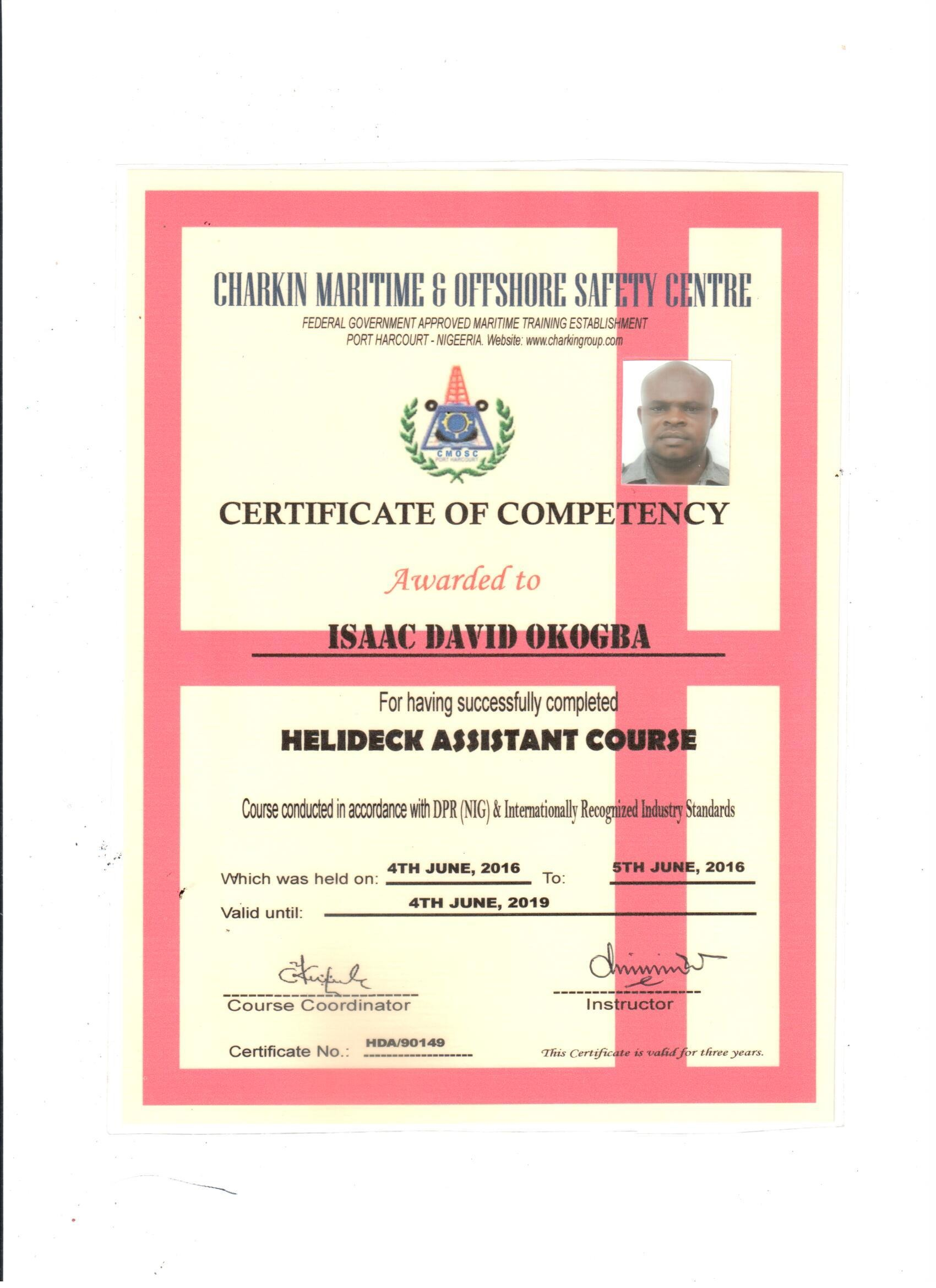 Engine Room Watch Rating Certificate