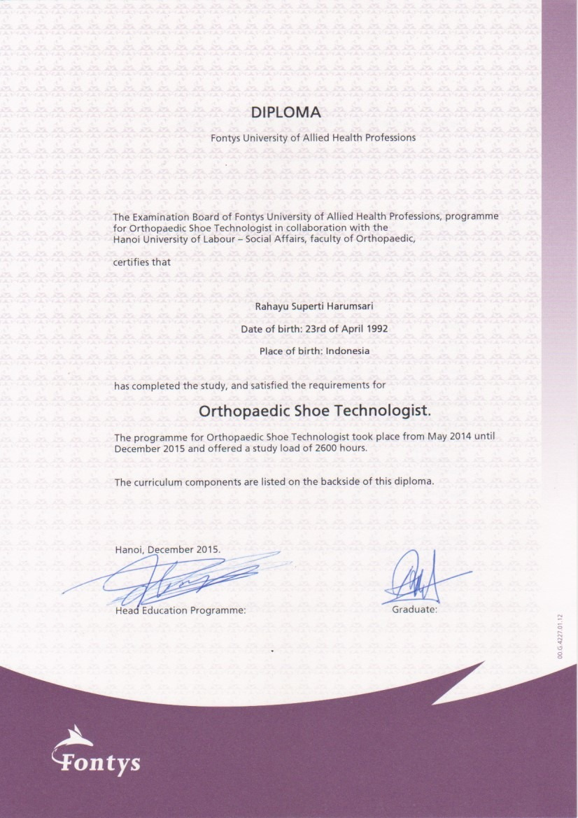 Diploma, Orthopedic Shoe Technologist