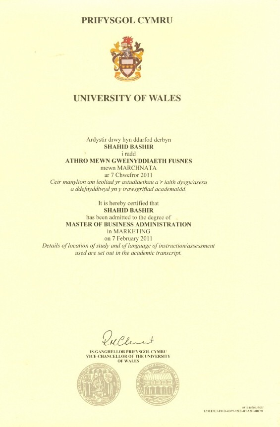 Shahid bashir bayt masters degree marketing at university of wales yelopaper Image collections