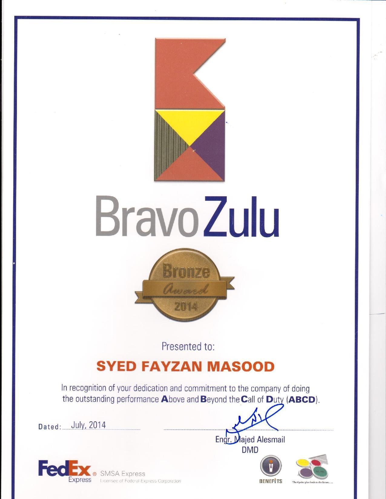 bravo zulu award fedex