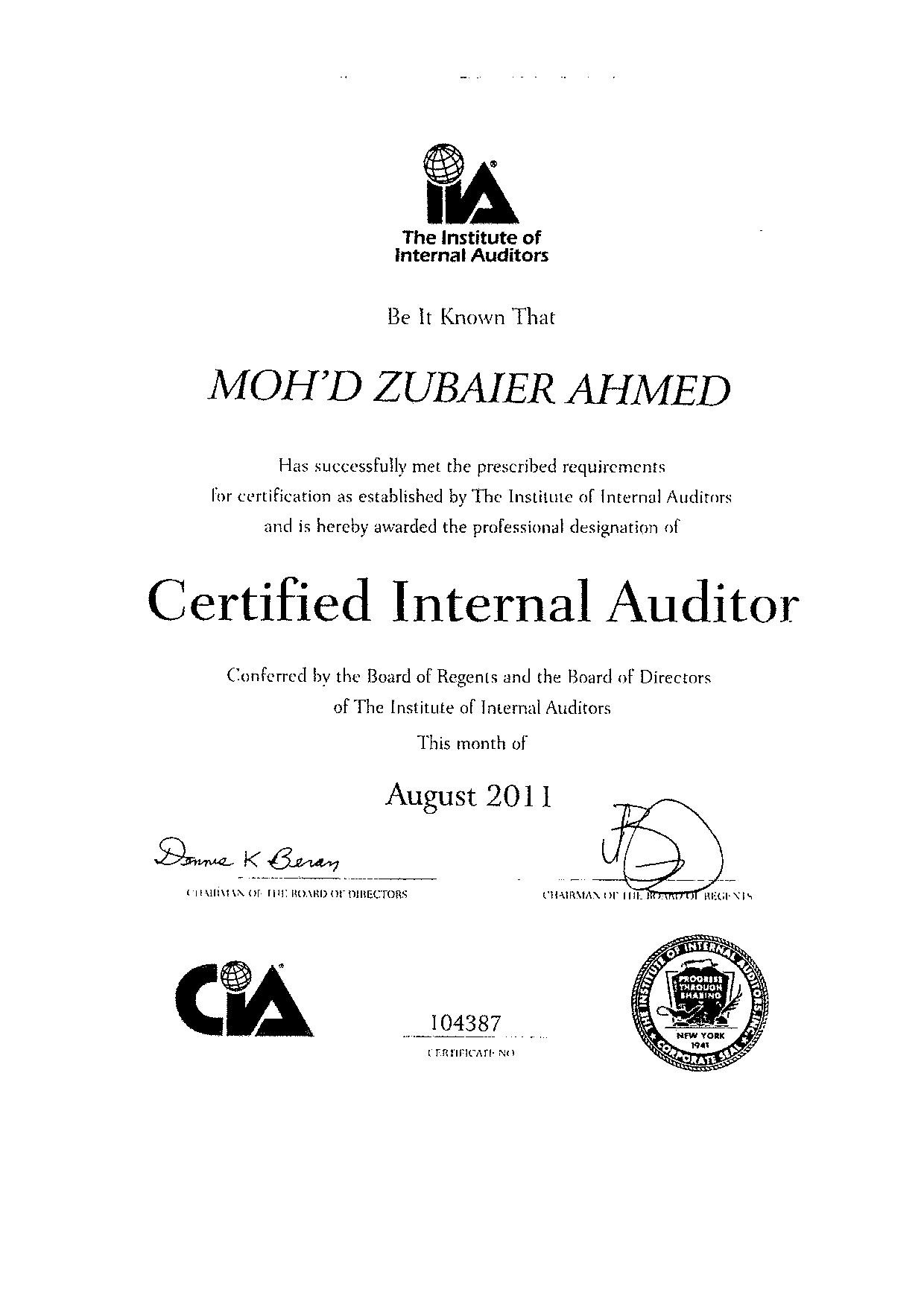 Mohammed Zubaier Ahmed Cia Cpa Bayt