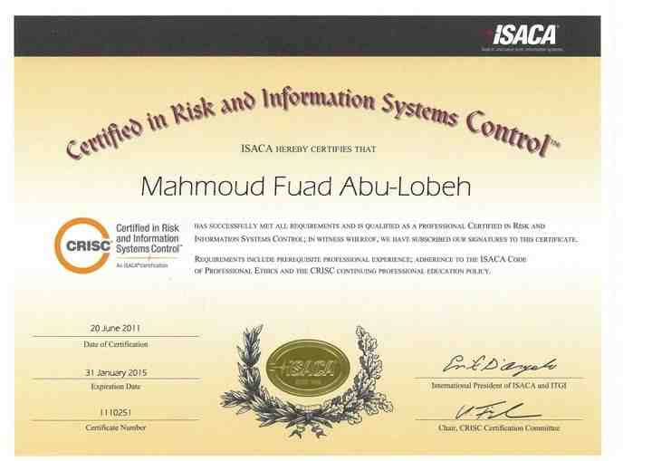 Mahmoud Abu Lebbeh CRISC, CRMA, CIDA, and ACPA - Chair / Founder of ...