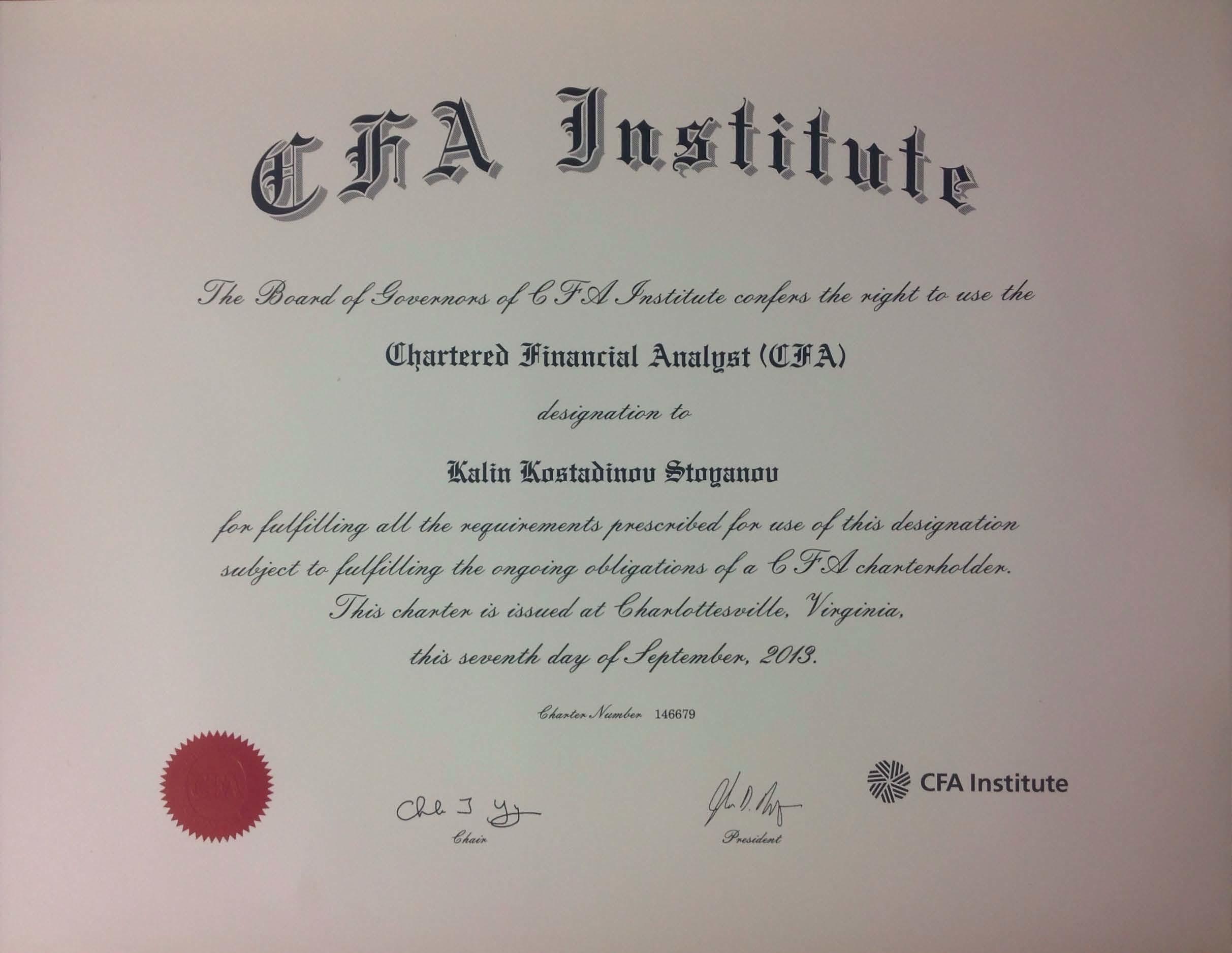 frm certificate cfa kalin cipm stoyanov financial