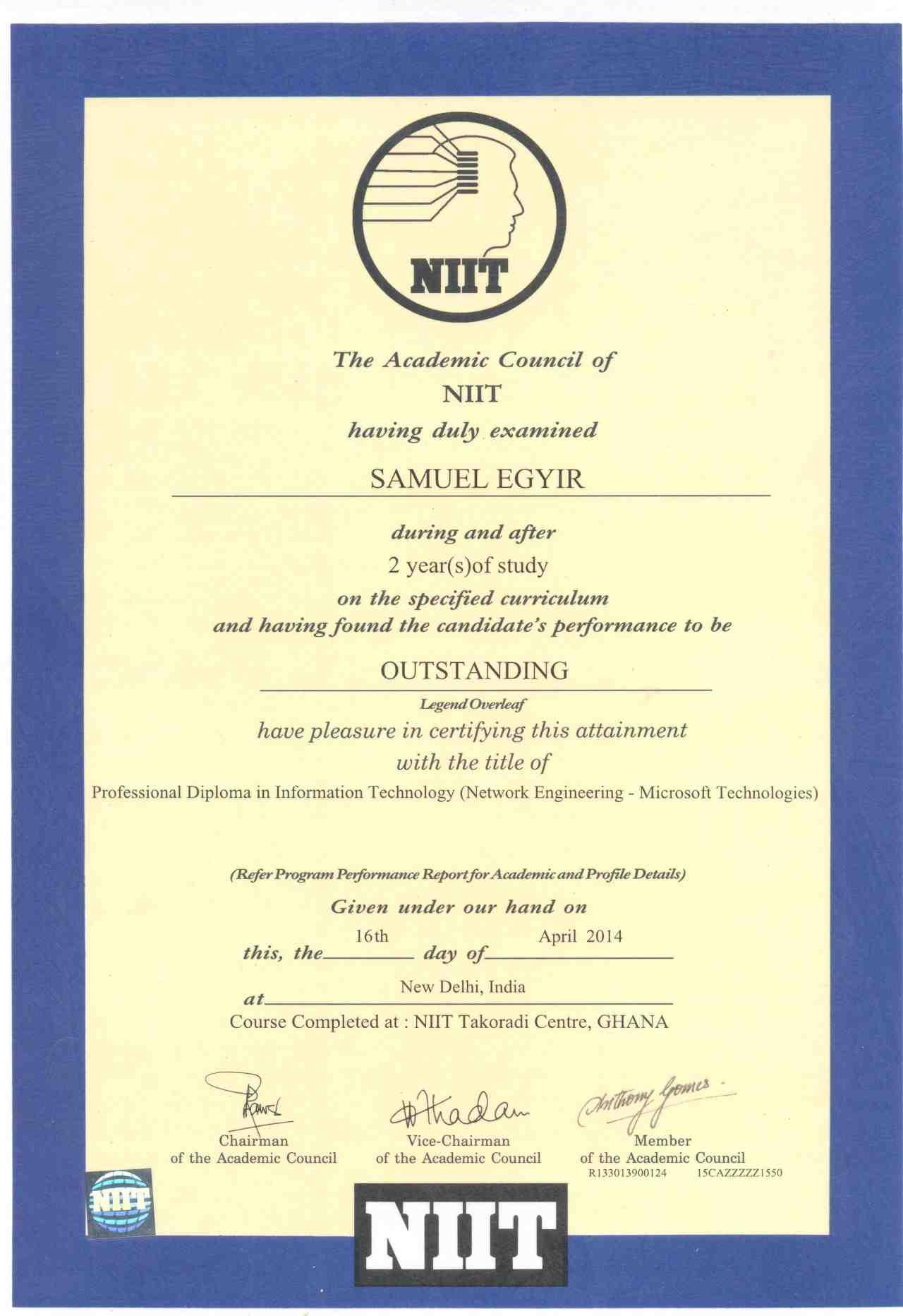certificate samuel technology