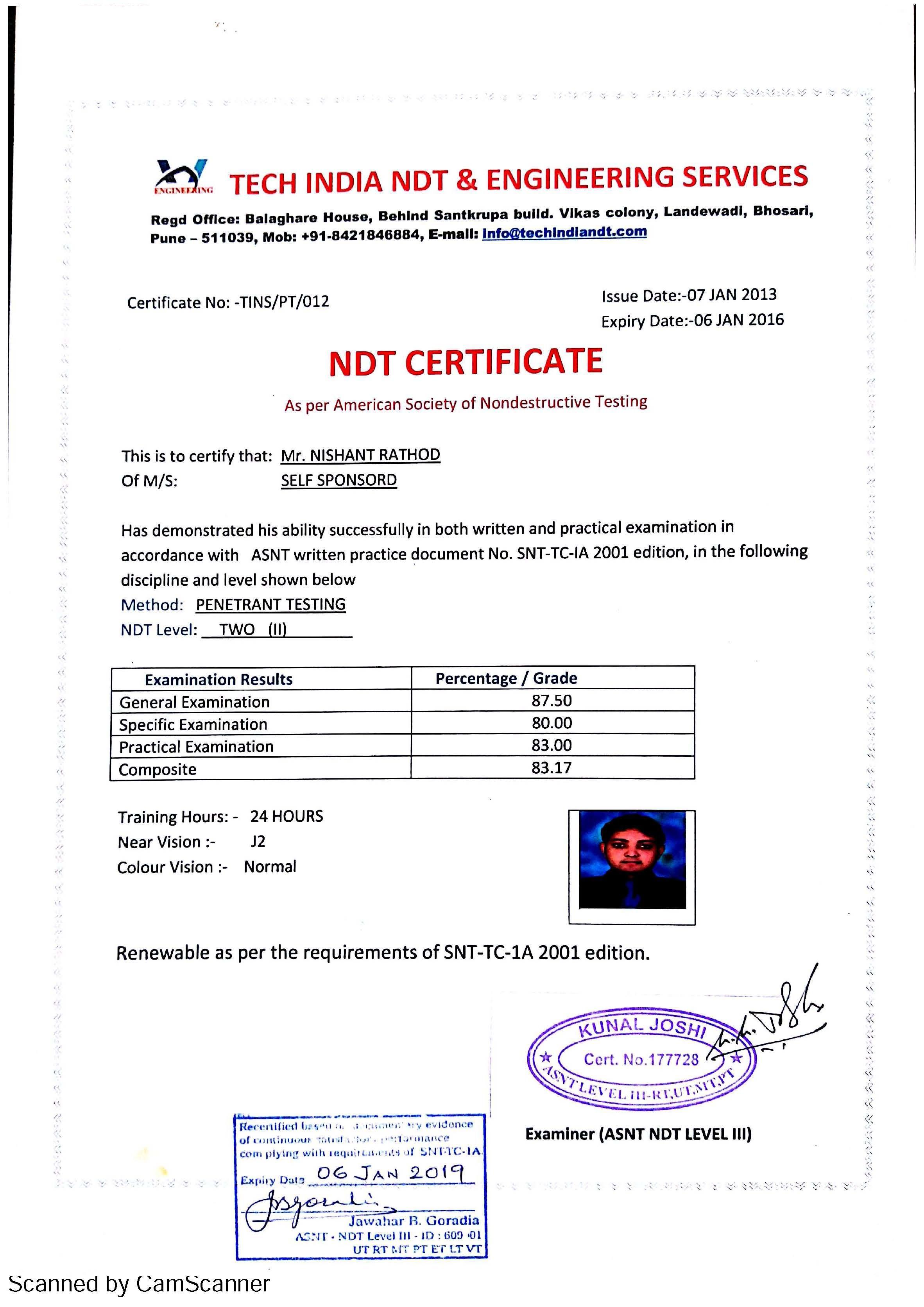 Asnt Ndt Level 2 Certificate Verification Best Design Sertificate 2018